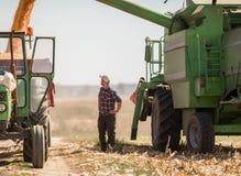 Junger Landwirt auf den Maisgebieten während der Ernte stockfotografie