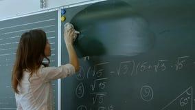 Junger Lehrer, der Tafel löscht Stockbild