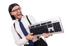 Junger lustiger Geschäftsmann mit der Tastatur lokalisiert Stockfotos
