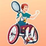 Junger männlicher behinderter Tennisspieler Getrennt auf Weiß Lizenzfreie Stockfotos
