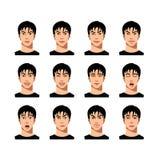 Junger männlicher Gesichtsausdrucksatz Stockfotografie