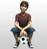 Spieler des Fußballs 3d Lizenzfreies Stockbild