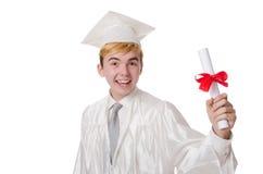 Junger männlicher Student graduiert von der Highschool Lizenzfreies Stockfoto