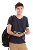 Junger männlicher Student mit Büchern stockfotos