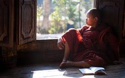 Junger Mönch, der im Kloster Myanmar lernt Lizenzfreies Stockfoto