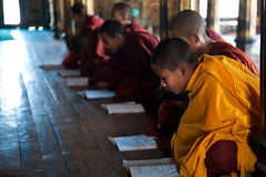 Junger Mönch, der im Kloster Myanmar lernt Stockfoto