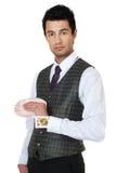 Junger Magier mit Karten Lizenzfreie Stockfotos