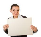 Junger Manager mit einem Plakat lizenzfreie stockfotos