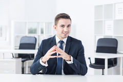 Junger Manager und skype Stockbilder