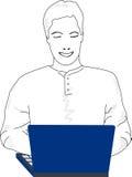 Junger Mann auf Computer Lizenzfreies Stockfoto