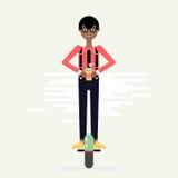 Junger Mann auf Monorad des elektrischen Rollers Stockfotografie