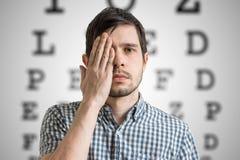Junger Mann bedeckt sein Gesicht mit der Hand und überprüft seine Vision Diagramm für Augenanblickprüfung im Hintergrund stockbilder