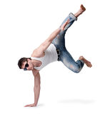Junger Mann beim Jeansspringen Stockfotografie