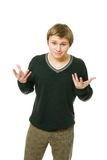 Junger Mann bildet eine Geste stockbild