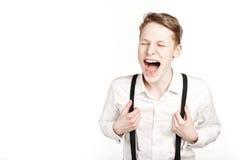 Junger Mann in den Glasüberraschungen und -schock Stockfoto