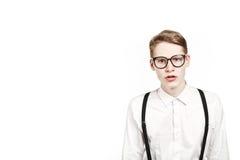 Junger Mann in den Glasüberraschungen und -schock Lizenzfreies Stockbild