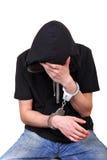 Junger Mann in den Handschellen Lizenzfreie Stockbilder