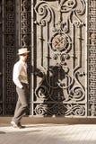 Junger Mann in den Spaziergängen der modernen Kleidung Stockbilder