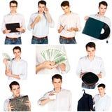 Junger Mann der Collage mit den verschiedenen Gegenständen lokalisiert Stockfotos