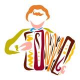 Junger Mann, der das Akkordeon, buntes Muster spielt vektor abbildung