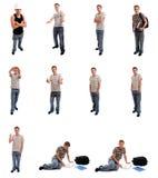 Junger Mann, der in den verschiedenen Stellungen aufwirft Stockbilder