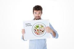 Junger Mann, der die korrekte Weise unterrichtet zu essen lizenzfreie stockfotografie
