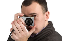 Junger Mann, der eine Abbildung spricht Lizenzfreie Stockbilder