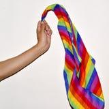 Junger Mann, der eine Flagge des homosexuellen Stolzes wellenartig bewegt lizenzfreies stockfoto