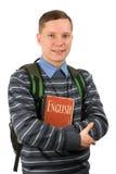 Junger Mann, der einen Rucksack trägt lizenzfreies stockfoto