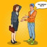 Junger Mann, der etwas Geschäftsfrau erklärt Pop-Arten-Illustration vektor abbildung