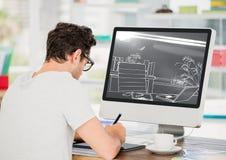 junger Mann, der herein an dem Computer auf dem Design des neuen Büros (two-tone>, arbeitet grau und weiß) Stockfoto