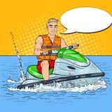 Junger Mann, der Jet Ski fährt Extremer Wassersport Pop-Arten-Illustration Lizenzfreie Stockfotos