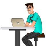 Junger Mann, der an Laptop-Computer sitzt und arbeitet lizenzfreie abbildung