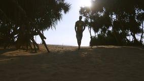 Junger Mann, der mit Rucksack entlang tropischem Strand zum Ozean geht Männlicher Wanderer, der am sandigen Ufer zum Meer geht stock footage