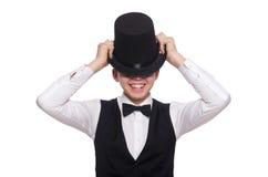 Junger Mann in der schwarzen klassischen Weste lokalisiert auf Weiß Lizenzfreies Stockfoto