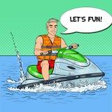 Junger Mann, der Spaß auf Jet Ski hat Extremer Wassersport Pop-Arten-Illustration Lizenzfreie Stockbilder