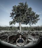Junger Mann, der unter Baum meditiert Lizenzfreies Stockbild
