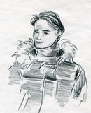 Junger Mann in der Winter-Kleidung Stockbild