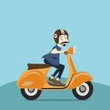 Junger Mann des Hippies reitet ein Motorrad lizenzfreie abbildung
