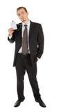 Junger Mann in einem schwarzen Anzug und Abzeichen in hallo Lizenzfreie Stockfotografie