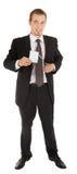 Junger Mann in einem schwarzen Anzug und Abzeichen in hallo Lizenzfreie Stockfotos