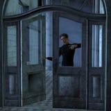 Junger Mann am Eingang Stockbilder