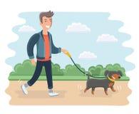 Junger Mann-gehender Hund Moderne flache Illustration Stockfotos
