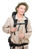 Junger Mann gekleidet in einem Touristen stockbilder