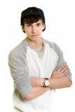 Junger Mann getrennt auf weißem Hintergrund Stockbilder