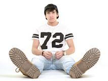 Junger Mann getrennt auf weißem Hintergrund Lizenzfreie Stockfotografie