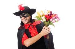 Junger Mann im Karnevalsmantel lizenzfreies stockfoto