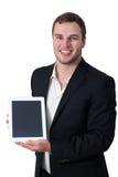 Junger Mann im Klageholding-Tablette-PC Stockbilder