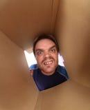 Junger Mann innerhalb des Kastens lizenzfreie stockfotografie