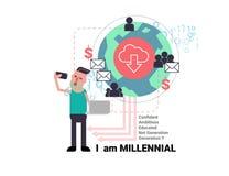 Junger Mann Millenial, der selfie mit Geschäft des Sozialen Netzes nimmt Stockbilder